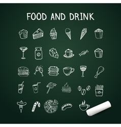 Food and drink doodles Icons on chalkboard with vector image