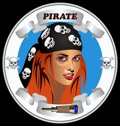 Icon girl pirates vector