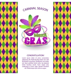 Bright carnival icons and sign mardi gras vector