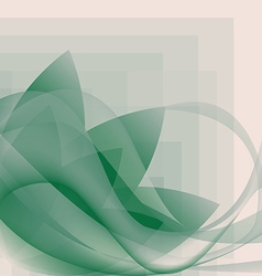 Abstract green waves and flower pattern vector image