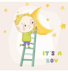 Baby boy climbing on a moon - baby shower vector