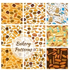 Bakery patterns set bread and baking kitchenware vector