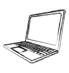 blurred silhouette tech laptop side view vector image vector image