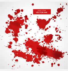 collection of red ink splatter background vector image vector image