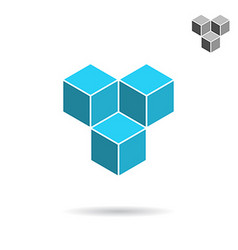 Cube logo template cooperation concept vector