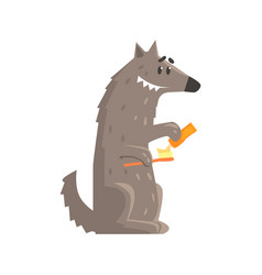 Cute cartoon wolf holding a toothbrush and a vector