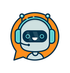Cute smiling funny robot chat bot vector