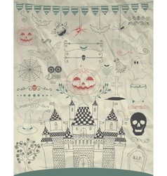 Hand sketched doodle halloween icons on vector