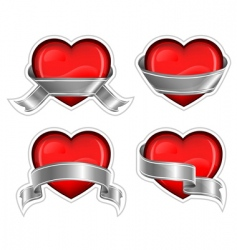 hearts with ribbom on white vector image vector image