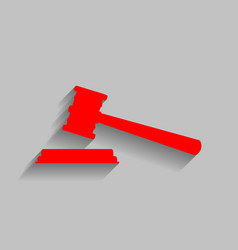 justice hammer sign red icon with soft vector image vector image