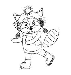 Line icon christmas raccoon cartoon vector