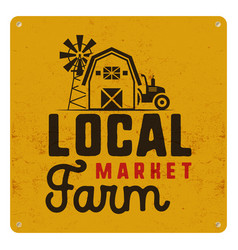 local farm market poster retro design included vector image