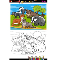 Mustelids animals cartoon coloring book vector
