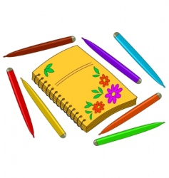 notebook with flowers vector image
