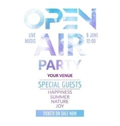 Open air party template design open air poster vector