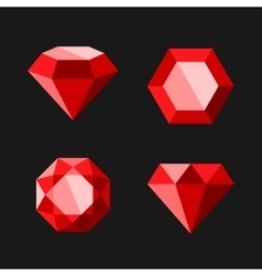 Red Diamond or Ruby Icons Set vector image vector image