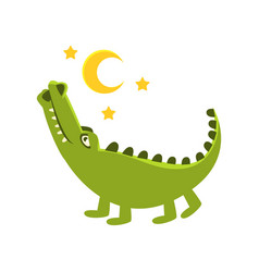 Romantic crocodile walking under night sky vector