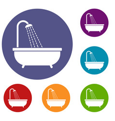 shower icons set vector image