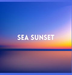 Square blurred blue background - sunset sea and vector