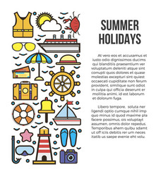 summer holiday cruise template with marine vector image