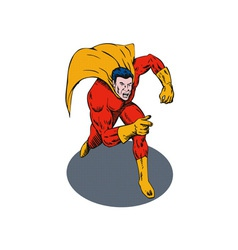 Super hero running pointing retro vector