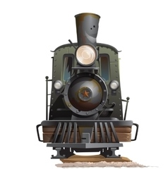 Train locomotive front view vintage transport vector