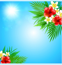 tropical background with flowers vector image