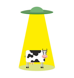 Ufo and cow aliens abduct cattle frisbee and farm vector