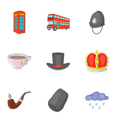 United kingdom travel icons set cartoon style vector