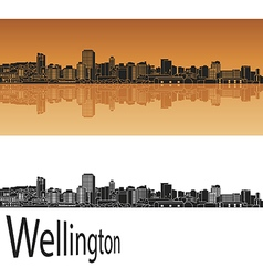 Wellington skyline in orange vector image vector image