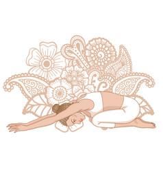 women silhouette child s yoga pose balasana vector image