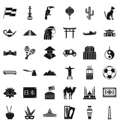 World culture icons set simple style vector