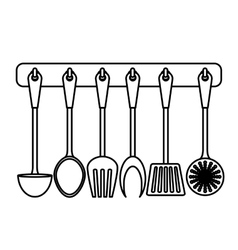 Figure rack utensils kitchen icon vector
