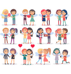 Couples on valentine s day on white background vector
