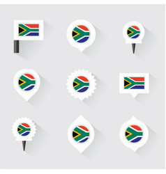 South africa flag and pins for infographic and vector