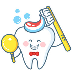 cartoon tooth with toothpaste and mirror vector image