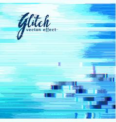 Blue glitch error background with distorted vector