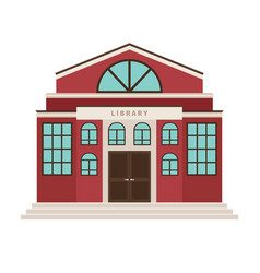 Red library cartoon building icon vector