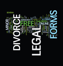 Free legal divorce forms text background word vector