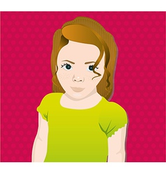 girl on a background of pink dots vector image