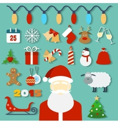 Christmas concept with flat icons and santa vector