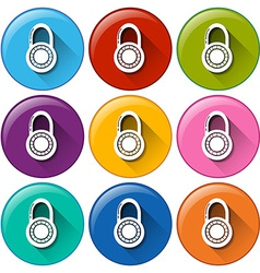 Circle buttons with padlocks vector