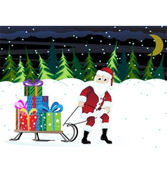Santa claus in a winter forest vector
