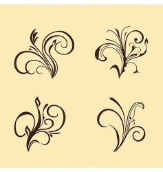 Set of floral elements brown vector