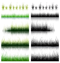 Big set of green and black grass isolated on white vector