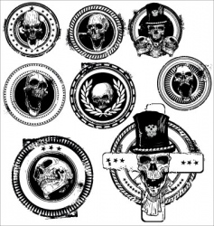 Grunge skull rubber stamps vector