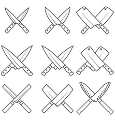 Set of crossed kitchen knives vector
