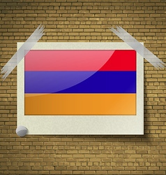 Flags armenia at frame on a brick background vector