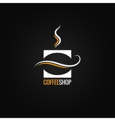 Coffee cup with bean logo background vector