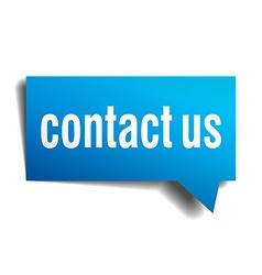 Contact us blue 3d realistic paper speech bubble vector
